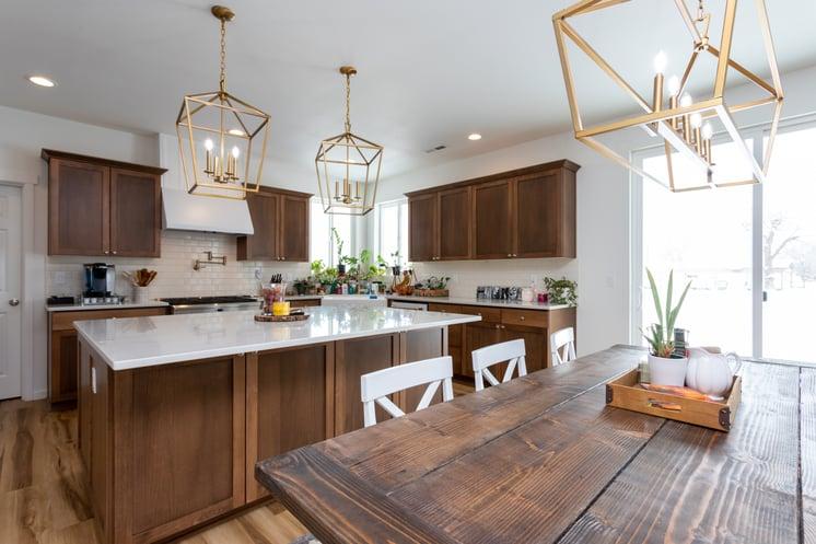 Adair Homes Gold Fixtures Kitchen Dining-1