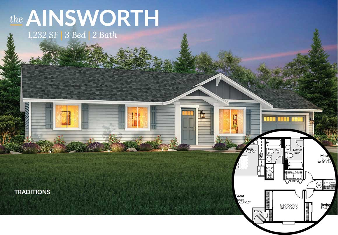Exterior view of the Ainsworth floorplan at dusk