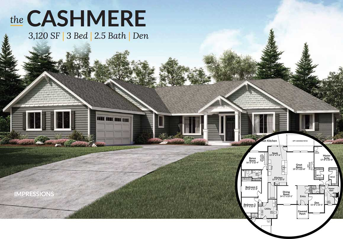 Exterior view of the Cashmere floorplan during the day