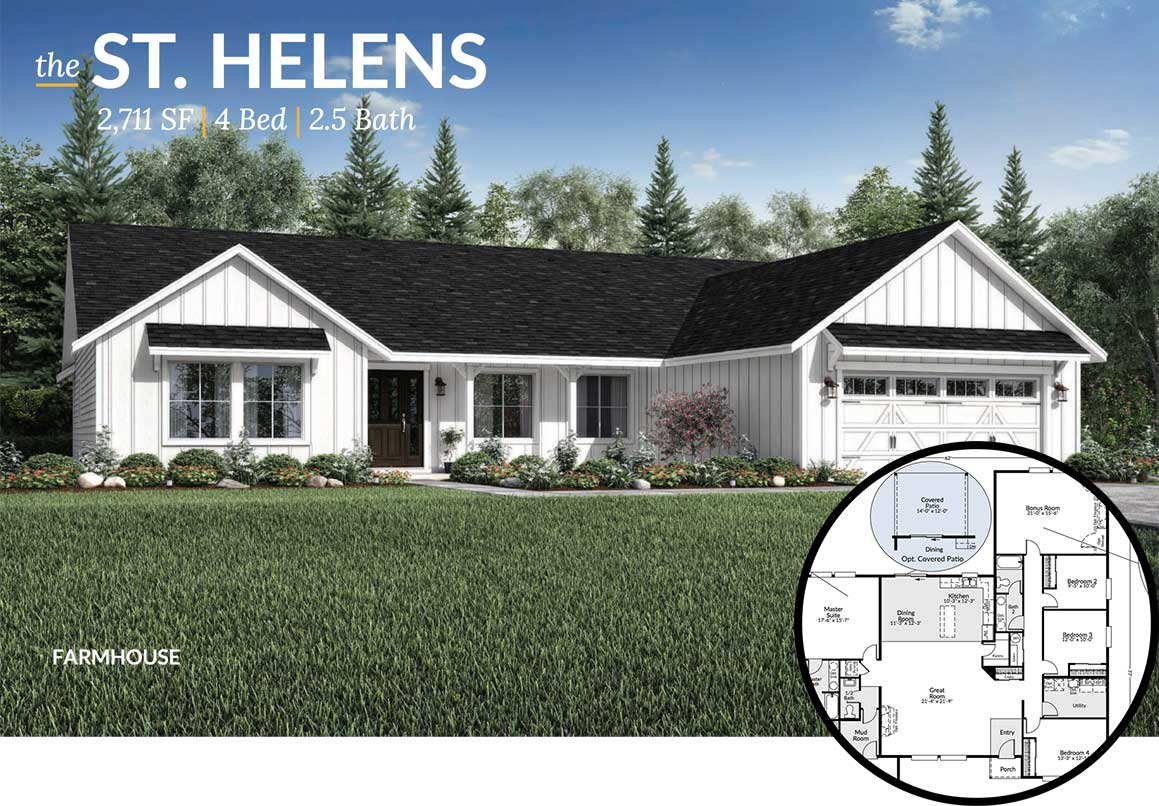 Exterior view of the St Helens floorplan during the day