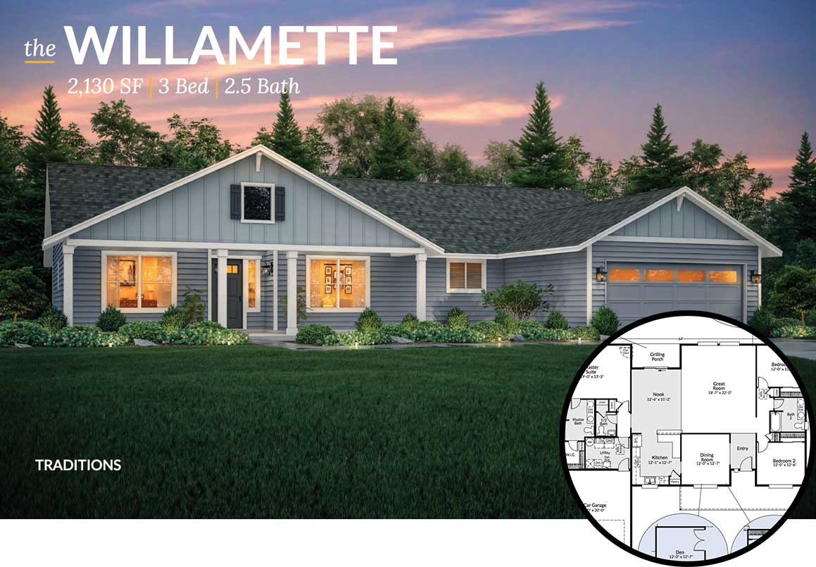 Exterior view of the Willamette floorplan at dusk