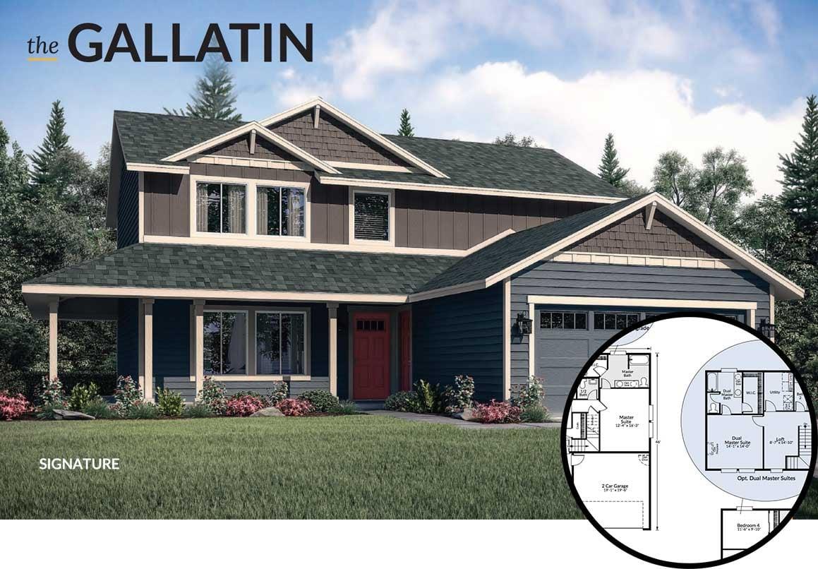 Gallatin floorplan with dual master suite