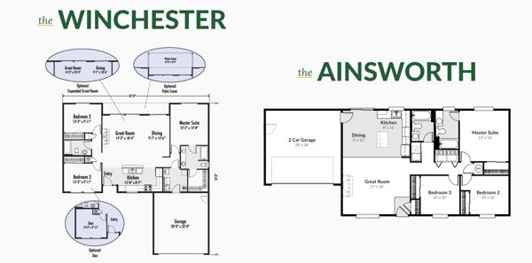 Winchester & Ainsworth Floor plans