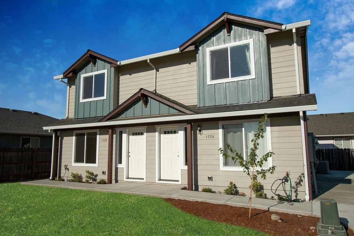Exterior view of The Pines - a duplex custom home plan